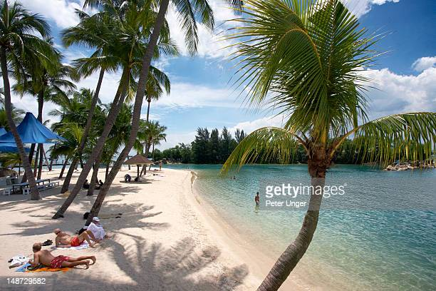 Siloso Beach at Sentosa Island.