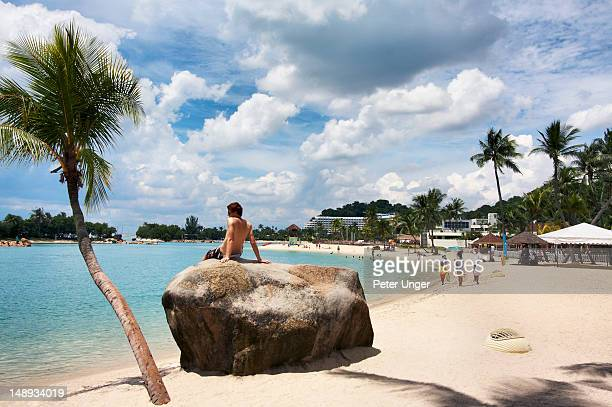 Siloso Beach on Sentosa Island.