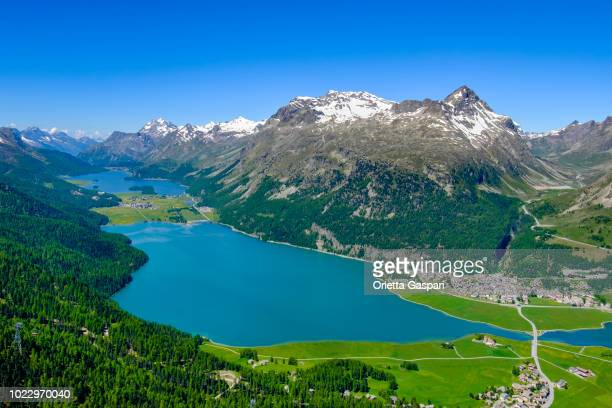 Sils and Silvaplana Lakes seen from above, Upper Engadine valley (Graubünden, Switzerland)