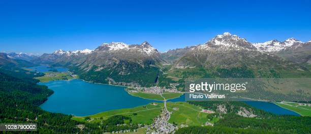 Sils, Silvaplana and Champfèr Lakes seen from above, Upper Engadine valley (Graubünden, Switzerland)