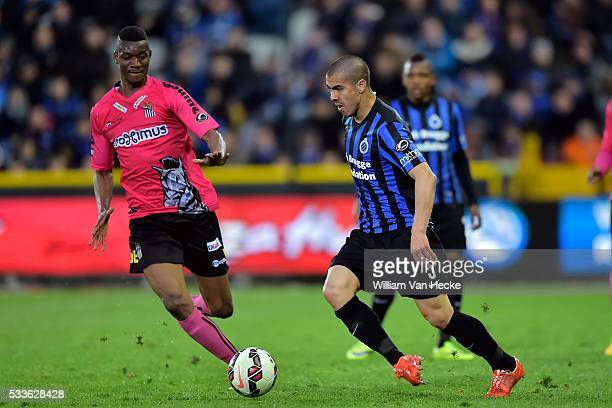 Silva Andres Francisco Gato midfielder of Club Brugge is challenged by Coulibaly Kalifa forward of Charleroi during the Jupiler Pro League Play Off 1...