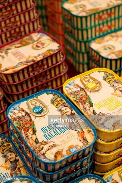 Silva e Feijoo. Conserveira de Portugal. Renowned sardine canning company. Rua dos Bacalhoeiros 117. Alfama. Lisbon. Estremadura. Portugal. Europe.