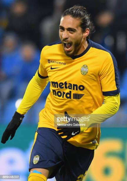 Silva Jose Martin Caceres of Hellas Verona celebrates after scoring his team second goal during the Serie A match between Spal and Hellas Verona FC...