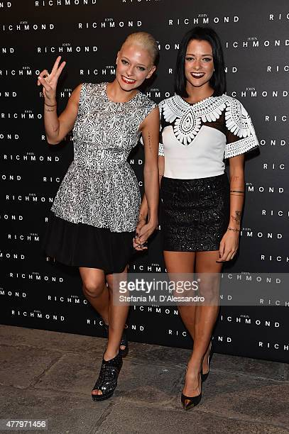 Silva Provvedi and Giulia Provvedi alias Le Donatella attend the John Richmond show during the Milan Men's Fashion Week Spring/Summer 2016 on June...