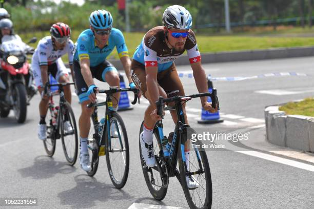 Silvan Dillier of Switzerland and Team Ag2R La Mondiale / Andriy Grivko of Ukraine and Team Astana Pro Team / Yousif Mirza of United Arab Emirates...