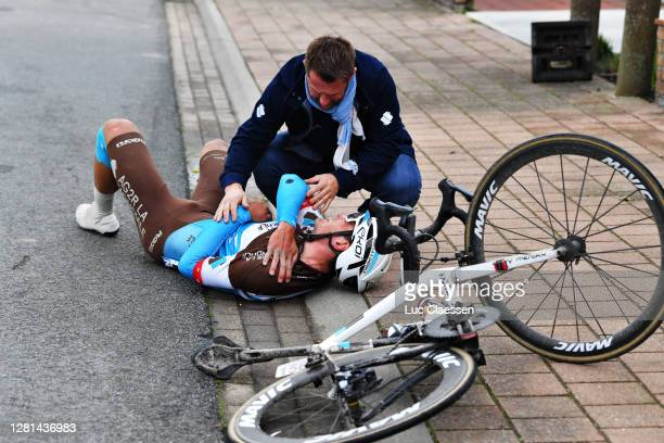 Silvan Dillier of Switzerland and Team AG2R La Mondiale / Crash / Injury / during the 44th Driedaagse Brugge - De Panne 2020, Men Classic a 202,6km...