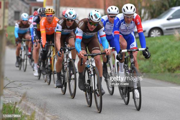 Silvan Dillier of Switzerland and Team AG2R la Mondiale / Tobias Ludvigsson of Sweden and Team Groupama-FDJ / during the 72nd Kuurne-Brussel-Kuurne...