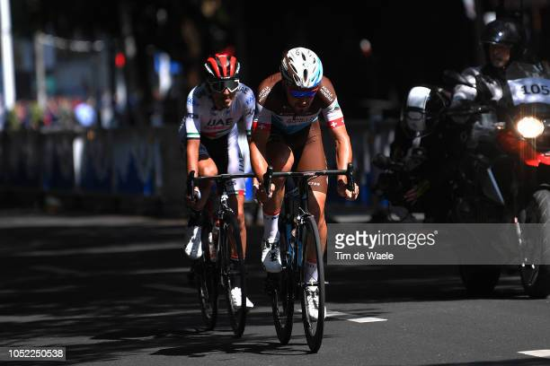 Silvan Dillier of Switzerland and Team Ag2R La Mondiale / Yousif Mirza of United Arab Emirates and Team Uae Team Emirates /during the 2nd Tour Of...
