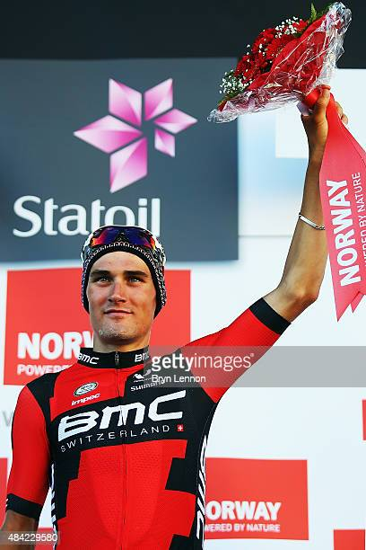 Silvan Dillier of Switzerland and the BMC Racing Team celebrates winning stage four of the 2015 Arctic Race of Norway a 165km stage from Narvik to...