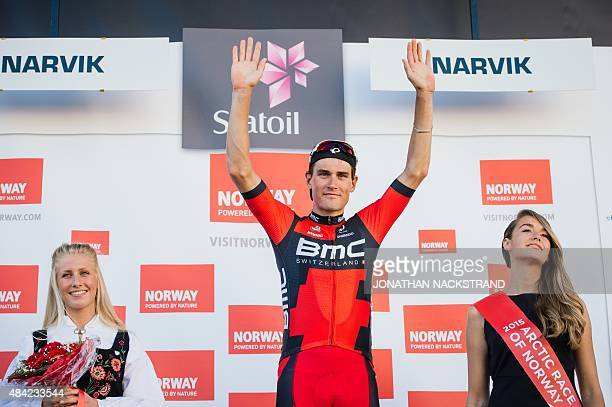 Silvan Dillier of Switzerland competing for BMC racing team celebrates on the podium after winning the 165 km fourth and last stage of the Arctic...