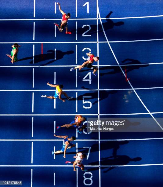 Silvan Wicki of Switzerland wins the 100m Men Heat 2 qualification on the qualification day ahead of the 24th European Athletics Championships at...