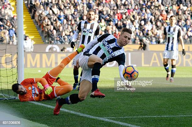Silvan Widmer of Udinese Calcio in action during the Serie A match between Udinese Calcio and FC Internazionale at Stadio Friuli on January 8 2017 in...