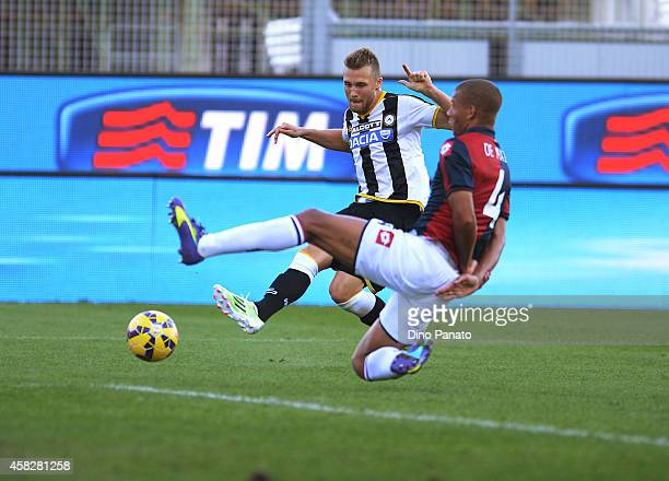 Silvan Widmer of Udinese Calcio scores his team's second goal during the Serie A match between Udinese Calcio and Genoa CFC at Stadio Friuli on...