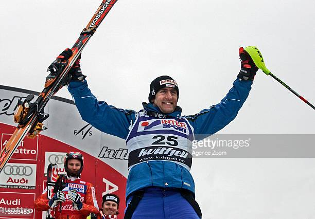 Silvan Zurbriggen of Switzerland celebrates a second place finish in the FIS Skiing World Cup Men's combined March 09, 2007 in Kvitfjell, Norway.