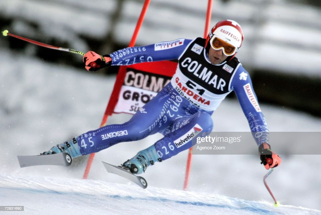 Silvan Zurbriggen of Switzerland competes in the FIS Skiing World Cup Men's Super-G on December 15, 2006 in Val Gardena, Italy.