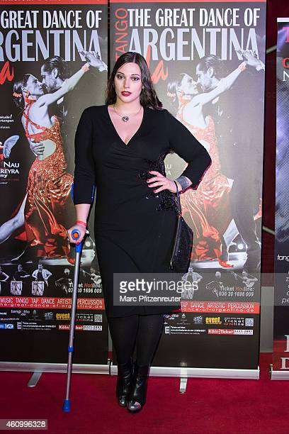Silvana Denker arrives at the premiere of 'The Great Dance of Argentina' at the Musical Dome on January 3 2015 in Cologne Germany