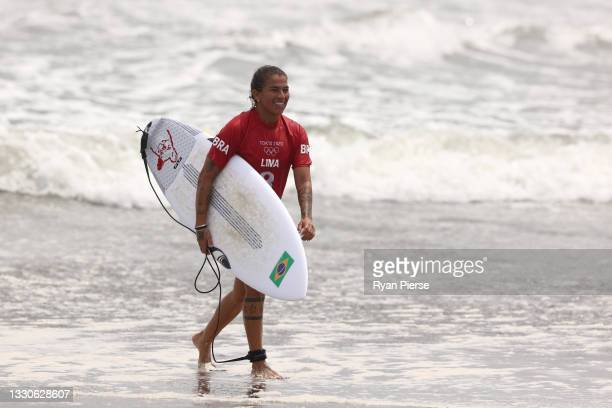 Silvana Lima of Team Brazil leaves the water after the Women's Round 3 heat on day three of the Tokyo 2020 Olympic Games at Tsurigasaki Surfing Beach...