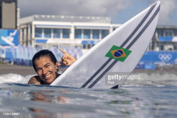 Silvana Lima of Team Brazil poses during a free training session of the Tokyo 2020 Olympic Games at the Tsurigasaki Surfing Beach, on July 24, 2021...