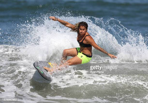 Silvana Lima of Team Brazil surfs during a practice session at Tsurigasaki Surfing Beach ahead of the Tokyo 2020 Olympic Games on July 22, 2021 in...