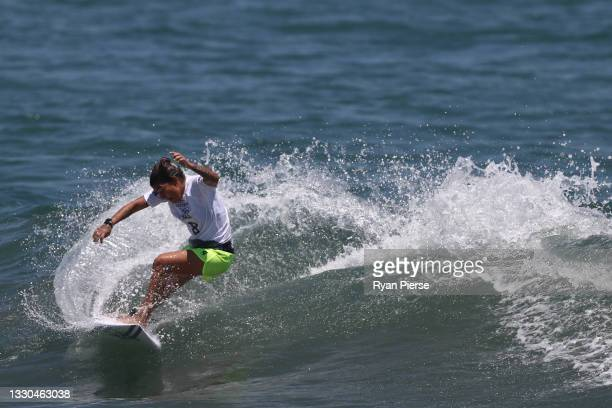 Silvana Lima of Team Brazil surfs during the Women's Round 1 heat on day two of the Tokyo 2020 Olympic Games at Tsurigasaki Surfing Beach on July 25,...