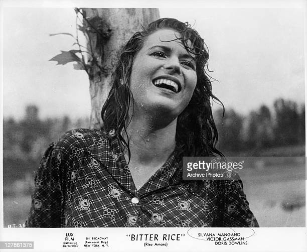 Silvana Mangano in the rain in a scene from the film 'Bitter Rice' 1949