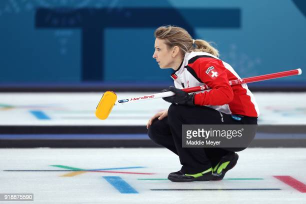 Silvana Tirinzoni of Switzerland looks on during the Curling Women's Round Robin Session 4 at Gangneung Curling Centre on February 16 2018 in...