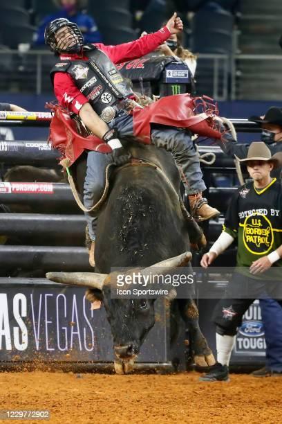 Silvano Alves rides bull Short Night during the PBR World Finals, on November 15th at the AT&T Stadium, Arlington, TX.