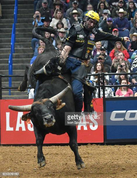 Silvano Alves rides the bull Short Night during round two of the Professional Bull Riders St Louis Invitational on February 18 at Scottrade Center St...