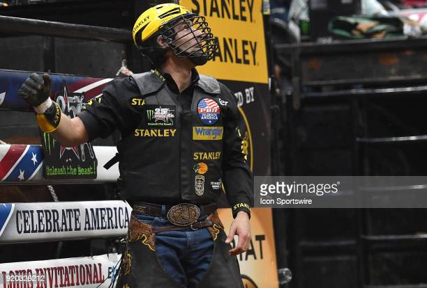 Silvano Alves waits for his score during round two of the Professional Bull Riders St Louis Invitational on February 18 at Scottrade Center St Louis...