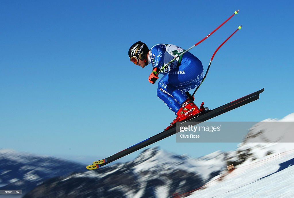 Silvano Varettoni of Italy in action during the Mens Downhill on January 13, 2008 in Wengen, Switzerland.