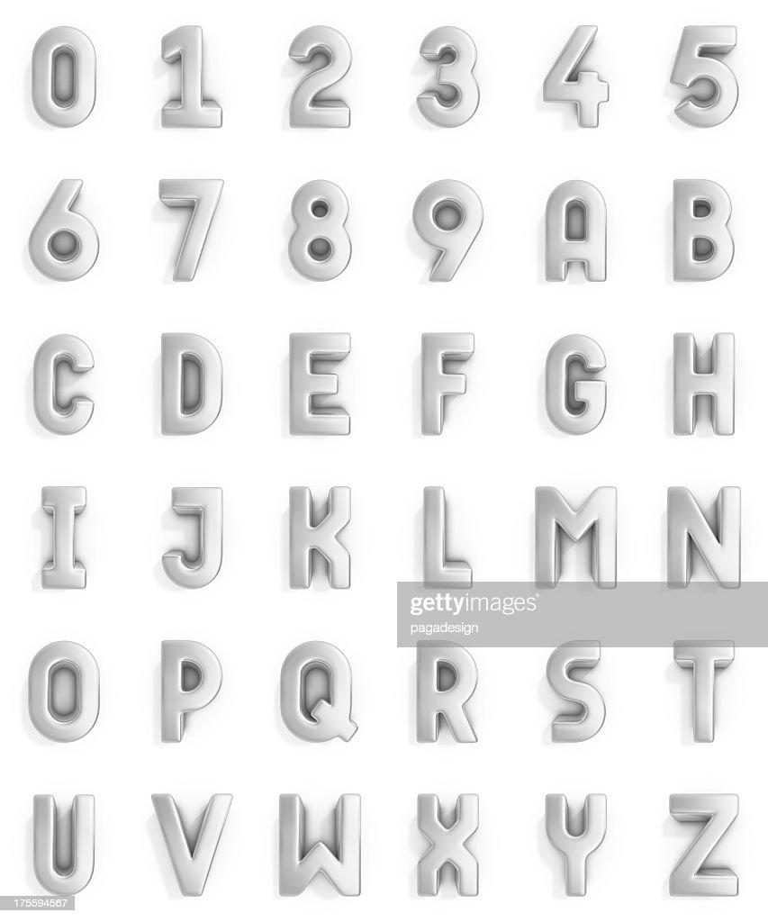 silver alfabeto e números : Foto de stock