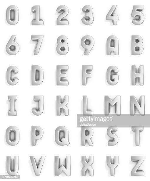 silver alphabet and numbers - three dimensional stock pictures, royalty-free photos & images