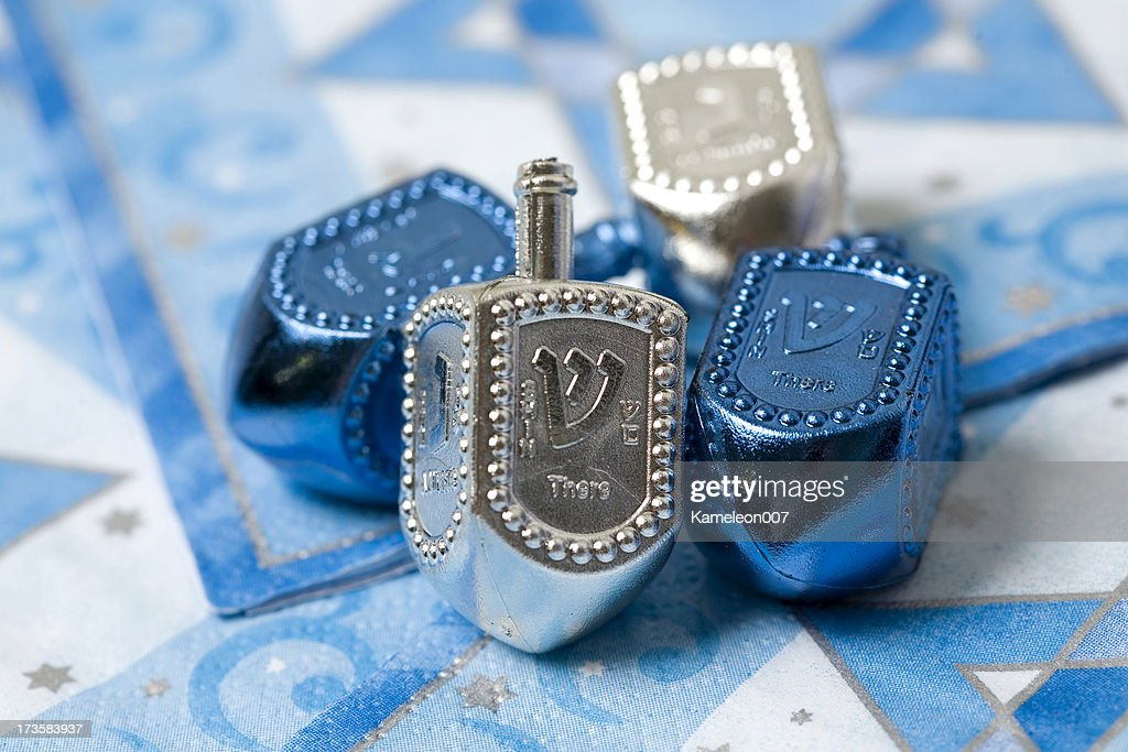 Silver and Blue dreidels : Stock Photo