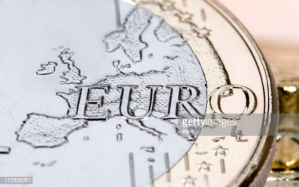 Silver and gold euro coin with Europe embossed