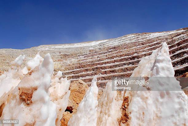 Silver and gold ore stick out of the ground at Barrick Gold Corp's Veladero mine in the San Juan province of Argentina on Tuesday Oct 16 2007