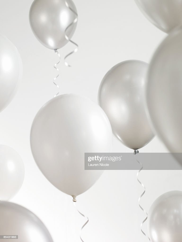Silver and White Balloons with Streamers : ストックフォト