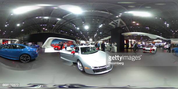A silver Audi AG R8 V10 sits on display during the 2017 New York International Auto Show in New York US on Thursday April 13 2017 The New York...