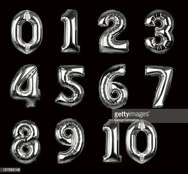silver balloon numbers 1-10 (+clipping paths, xxl) - balloons stock pictures, royalty-free photos & images