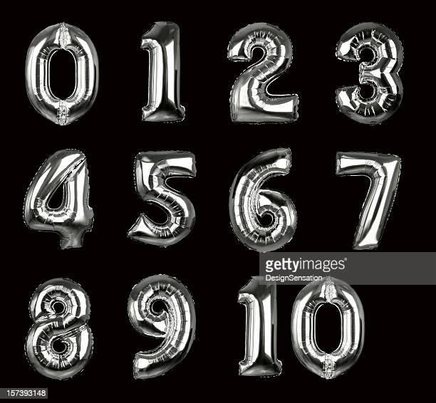 Silver Balloon zahlen 1-10 (Schneidepfade, XXL erhältlich