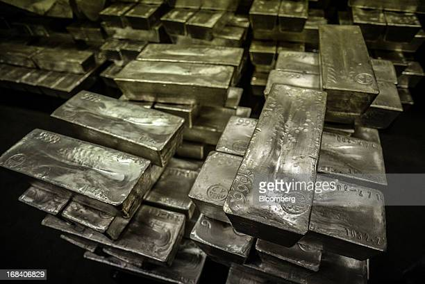 Silver bars are stacked inside the Doe Run Peru refinery in La Oroya Peru on Thursday March 21 2013 Most of La Oroyaís children suffer elevated lead...