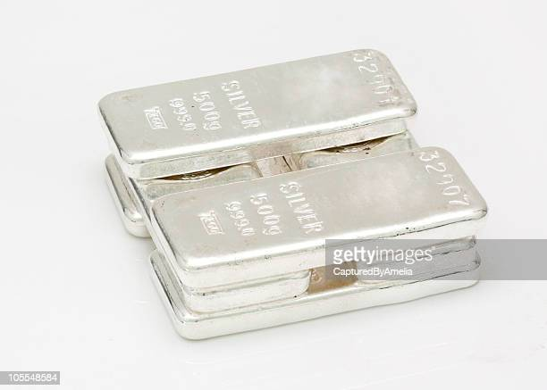silver bars in a pile - silver metal stock pictures, royalty-free photos & images