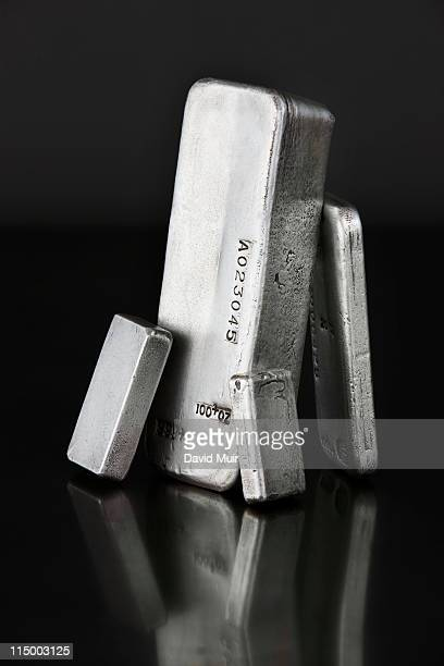 silver bars ingots standing - silver metal stock pictures, royalty-free photos & images