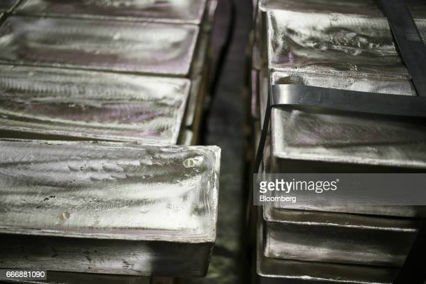 Silver bars sit inside a vault at the Rochester Silver Works LLC facility in Rochester New York US on Thursday March 30 2017 Rochester Silverworks...
