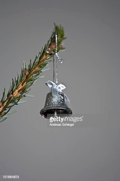 A silver bell hanging from a tree branch