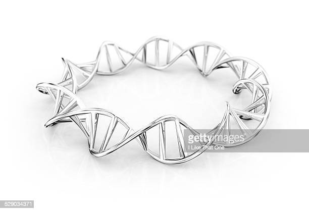 silver bracelet of dna double helix - atomic imagery stock pictures, royalty-free photos & images