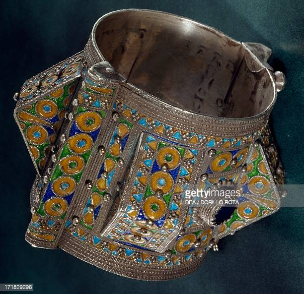 Silver bracelet polychrome enamel cloisonne and lapis lazuli that was given as a dowry to Kabylie women 1900 Algeria 19th20th century