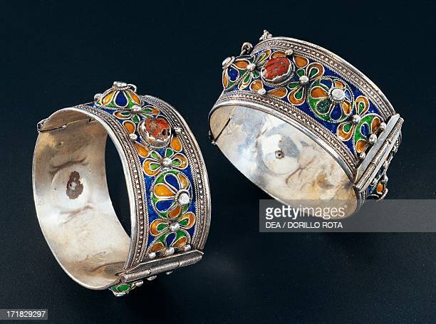 Silver bracelets with cloisonne enamel and coral ca 1900 Algeria 19th20th century