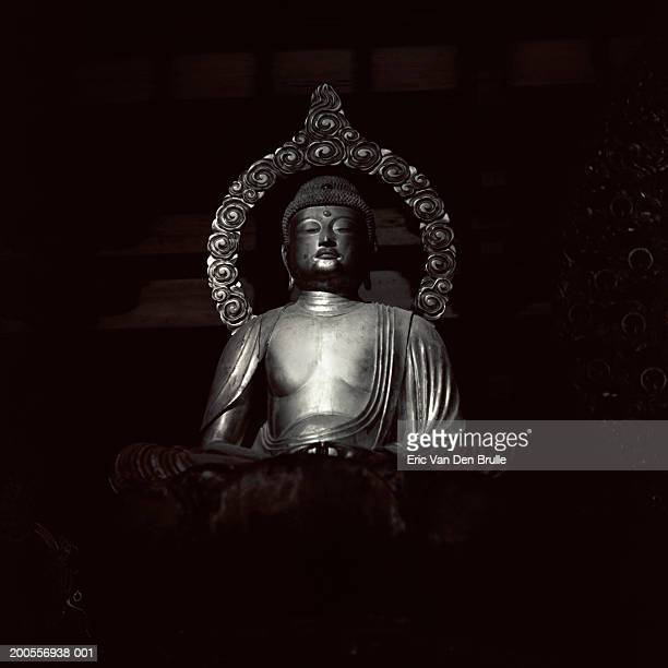 silver buddha statue on black background - eric van den brulle stock pictures, royalty-free photos & images