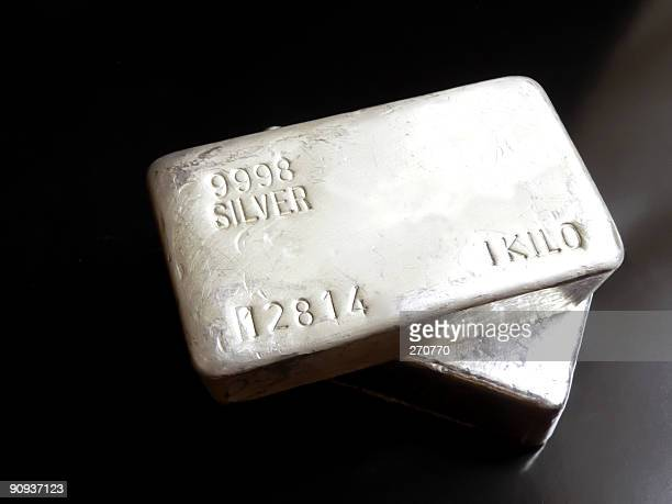 silver bullion - silver metal stock pictures, royalty-free photos & images