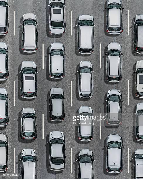 Silver cars on asphalt street, Aerial View